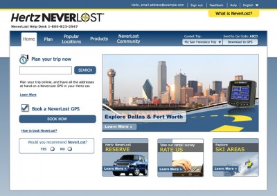 Hertz Neverlost Website